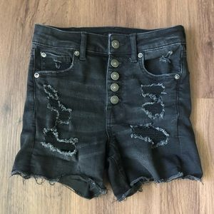 AEO High Rise distressed jean shorts